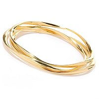 SS/18KGP BRAC POLISHED TWIST SET OF 3 SLIP-ON BANGLE