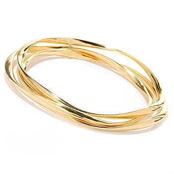 124-949 - Portofino Gold Embraced™ Set of Three Wave Twist Slip-on Bangle Bracelets