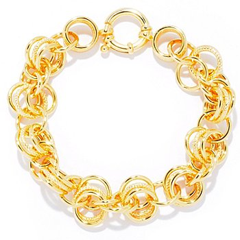 124-952 - Portofino Gold Embraced™ 8'' Alternating Texture Link Bracelet