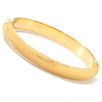 SS/18KGP BRAC FANCY BRUSHED TEXTURED HINGED BANGLE