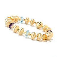 "VIALE 18K GOLD 7.5"" SATIN BED W/MULTI GEMSTONE LINK BRACELET"