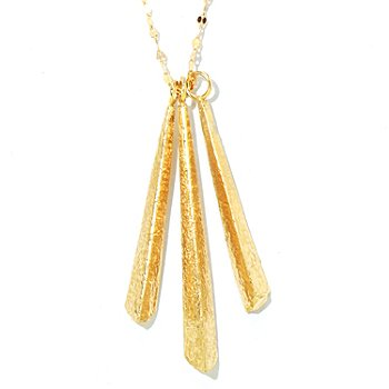 124-968 - Italian Designs with Stefano 14K ''Oro Vita'' 18'' Three-Drop Necklace