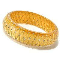 IDS ORO PURO RESIN & 24K GOLD FOIL BANGLE W/ CRYSTAL ACCENTS