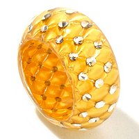 IDS ORO PURO RESIN & 24K GOLD FOIL RING W/ CRYSTAL ACCENTS