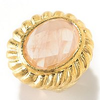 14K ROSE GOLD ORO VITA ELECTROFORM W/FACETED PINK QUARTZ CENTER RING