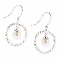 SS 7-8mm WHITE FWP SPARKLE BEAD EARRINGS