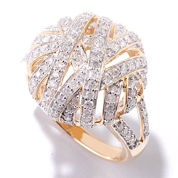 125-010 - Kallati Designs 14K Gold 0.92ctw Diamond Crisscross Dome Ring