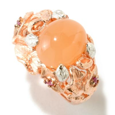 125-014 - NYC II 9.5 x 12mm Peach Moonstone & Pink Sapphire Polished Ring