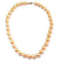 14K YG MM GOLDEN SOUTH SEA PEARL NECKLACE W/DIAMOND CLASP