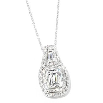 125-024 - TYCOON 2.62 DEW Cushion Shaped Simulated Diamond Halo Pendant w/ 18'' Chain