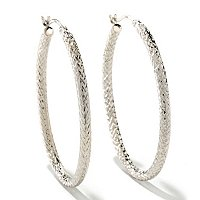 SS/P EAR ELONGATED DIAMOND-CUT HOOP
