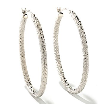125-041 - Palatino™ Platinum Embraced™ Diamond Cut Hoop Earrings