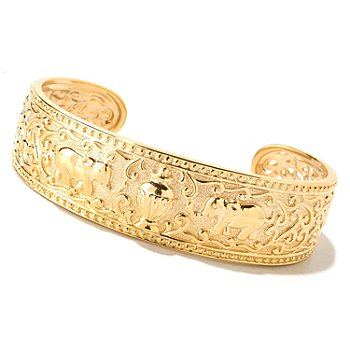 125-051 - Jaipur Bazaar Gold Embraced™ 7'' Polished Elephant Cuff Bracelet