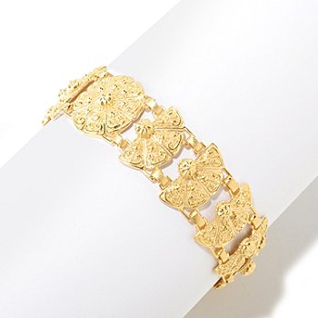 125-053 - Jaipur Bazaar Gold Embraced™ 7.25'' Textured Temple Link Bracelet