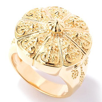 125-054 - Jaipur Bazaar Gold Embraced™ Polished & Textured Temple Ring