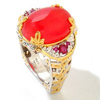 SS/PALL RING RED AGATE & RUBY