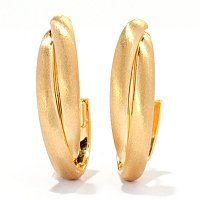 VIALE 18K 2 TUBE SATIN OVAL HOOP EARRINGS