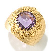 VIALE 18K GOLD SATIN RING W/ ROUND FACETED STONE CENTER