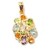 VIALE 18K HAMMERED PENDANT W/ FACETED MULTI GEMSTONES