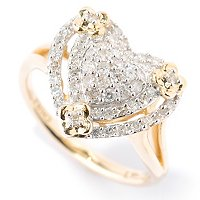 14K YG PAVE HEART SHAPED DIAMOND RING