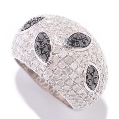 125-080 - Diamond Treasures Sterling Silver 2.50ctw Black & White Diamond Marquise Design Dome Ring