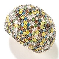 14K YG MULTI FANCY COLOR DIAMOND DOME RING