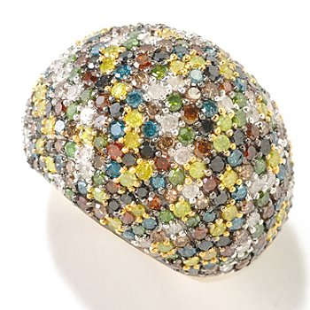125-081 - Diamond Treasures 14K Gold 4.25ctw Multi Color Diamond Dome Ring