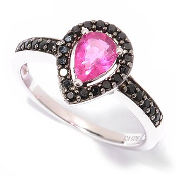 125-082 - Gem Insider Sterling Silver 0.84ctw Rubellite & Black Spinel Pear Shaped Ring