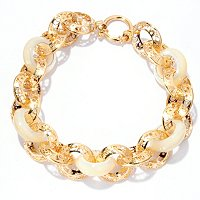 "14K 8.5"" RICAMI BRACELET WITH MOP LINKS"