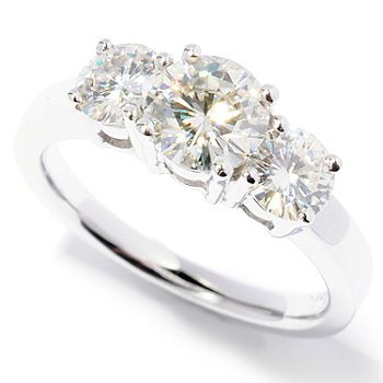 125-116 - Estrella Moissanite 14K Gold 1.70 DEW Three Stone Ring
