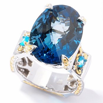 125-121 - Gems en Vogue II 18 x 13mm Checkerboard Cut Gemstone ''Victress'' Ring