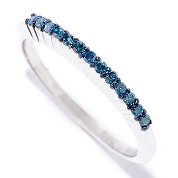 125-138 - Diamond Treasures Sterling Silver Fancy Color Diamond Band Ring