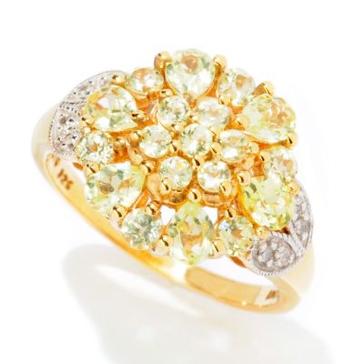 125-142 - NYC II 1.56ctw Chrysoberyl & Diamond Flower Ring
