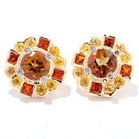 SS/P EAR EXOTIC TOPAZ & MULTI-GEM STUD