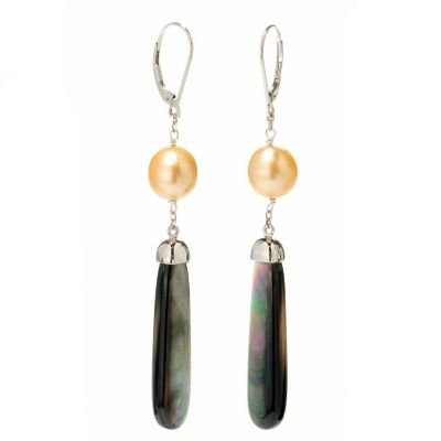 125-149 - Sterling Silver 9-10mm Golden South Sea Cultured Pearl & Mother-of- Pearl Earrings