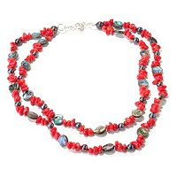 "SS 22-27"" DYED RED SEA BAMBOO, BLACK FWP & ABALONE NECKLACE"