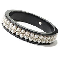 SS WHITE FWP , WHITE TOPAZ & BLACK JADE BANGLE