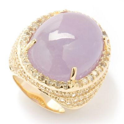 125-157 - Far East Market 18 x 24mm Lavender Jade & White Topaz Pave Ring