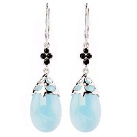 SS TEAR DROP MILKY AQUA EARRINGS
