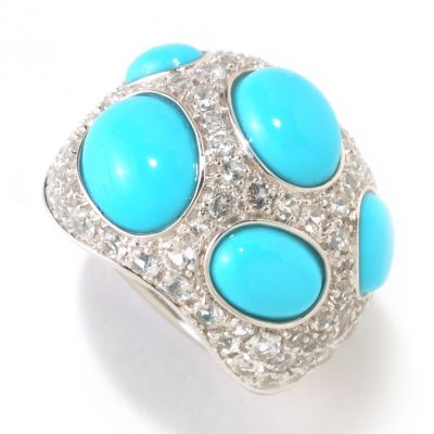 125-167 - Gem Insider Sterling Silver Sleeping Beauty Turquoise & White Topaz Domed Ring