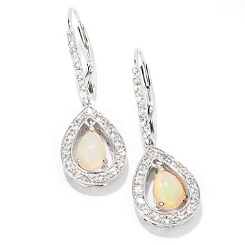 125-168 - Gem Insider Sterling Silver 1.25'' 7 x 5mm Opal & White Sapphire Teardrop Earrings