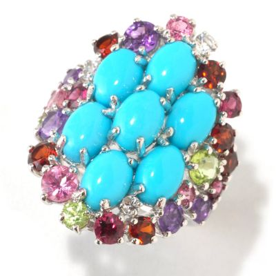 125-171 - Gem Insider Sterling Silver Sleeping Beauty Turquoise & Multi Gem Ring