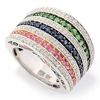 SS 6 ROW BAND MULTI COLOR SAPP AND DIAMOND RING