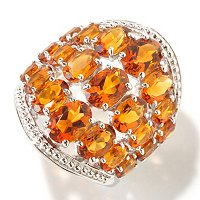 SS WIDE 3 ROW MAD CITRINE RING