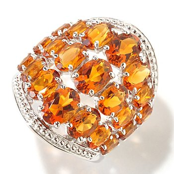 125-179 - Gem Insider Sterling Silver 5.40ctw Three Row Madeira Citrine Wide Ring