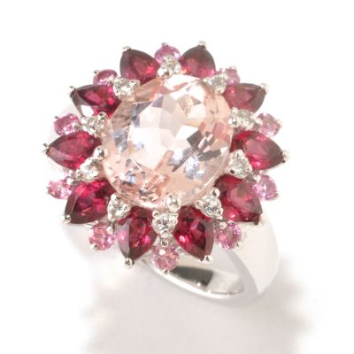 125-180 - Gem Insider Sterling Silver 4.34ctw Morganite & Multi Gemstone Flower Ring