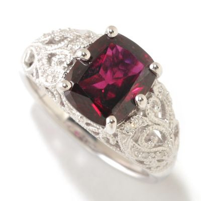 125-183 - Gem Insider Sterling Silver 2.86ctw Plum Rose Cushion Cut Garnet & Diamond Ring