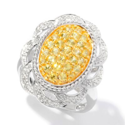 125-185 - Gem Insider 0.94ctw Yellow Sapphire & Diamond Oval Pave Flower Ring