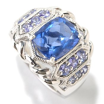 125-189 - Gem Insider Sterling Silver 3.28ctw Fluorite & Tanzanite Ring