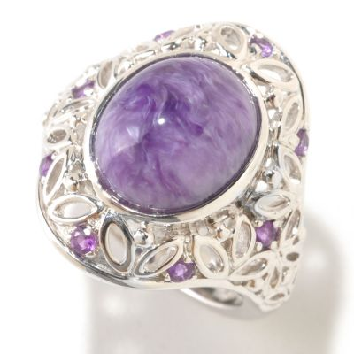 125-193 - Gem Insider 12 x 10mm Charoite & Amethyst Filigree Ring